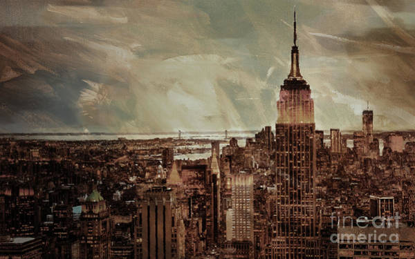 Manhattan Skyline Painting - New York City Buildings  by Gull G