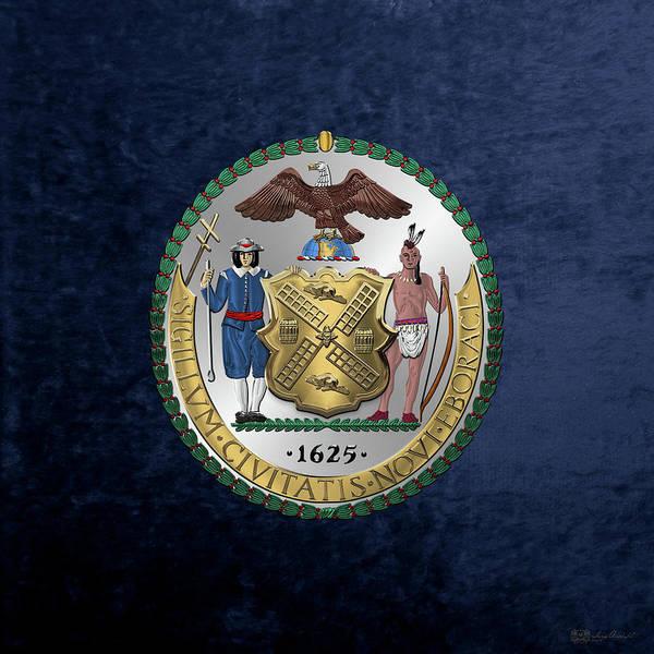 Digital Art - New York City Coat Of Arms - City Of New York Seal Over Blue Velvet by Serge Averbukh