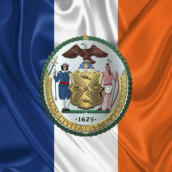Digital Art - New York City Coat Of Arms - City Of New York Seal Over Flag by Serge Averbukh