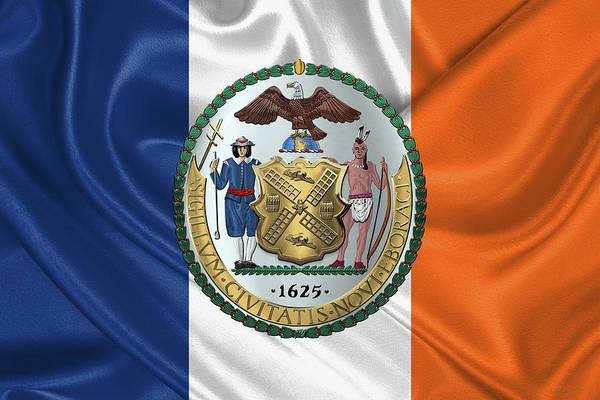 Digital Art - New York City Coat Of Arms - City Of New York Seal Over N Y C Flag by Serge Averbukh