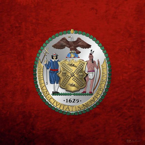 Digital Art - New York City Coat Of Arms - City Of New York Seal Over Red Velvet by Serge Averbukh