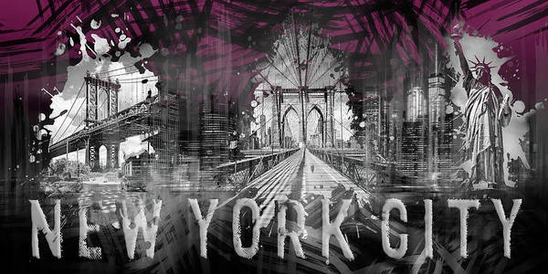 Wall Art - Photograph - New York City Collage - Panorama - Pink by Melanie Viola