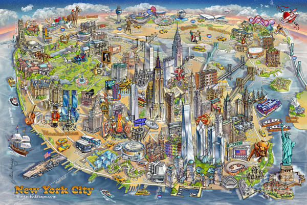 Grand Central Painting - New York City Illustrated Map by Maria Rabinky