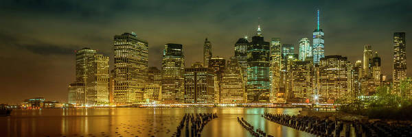 Wall Art - Photograph - New York City Impression Bei Nacht - Panoramic by Melanie Viola