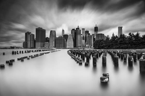 Piling Photograph - New York City In Black And White by Rick Berk