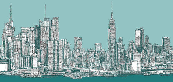 Building Drawing - New York City In Blue-green by Building  Art