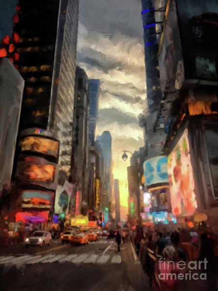 Digital Art - New York City Lights by Lois Bryan
