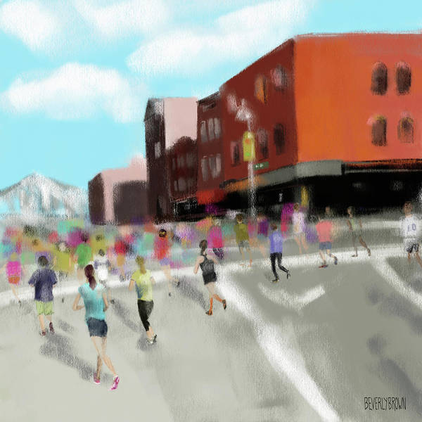 Semi Abstract Painting - New York City Marathon by Beverly Brown