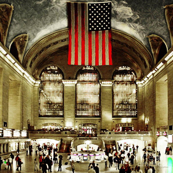 Photograph - New York City Midtown Manhatten Grand Central Terminal 20160215 Square by Wingsdomain Art and Photography