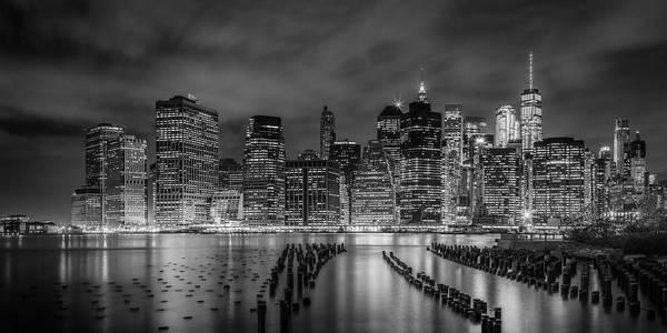 Wall Art - Photograph - New York City Monochrome Night Impressions - Panoramic by Melanie Viola