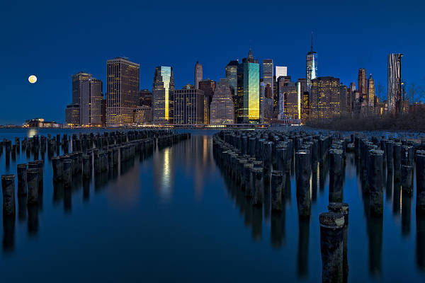 Photograph - New York City Moonset by Susan Candelario