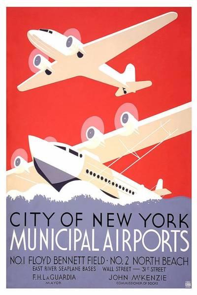 Wall Art - Painting - New York City Municipal Airports - Vintage Illustrated Poster by Studio Grafiikka