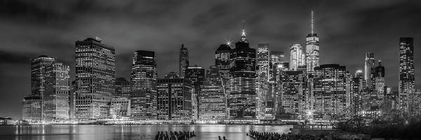 Wall Art - Photograph - New York City Night Skyline - Panoramic by Melanie Viola