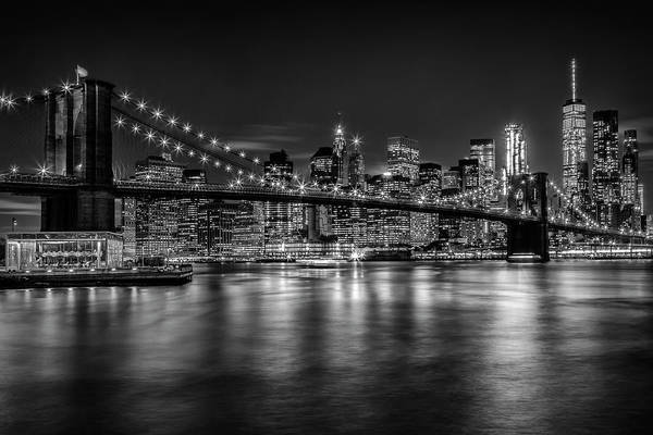 Wall Art - Photograph - New York City Nightly Impressions - Monochrome by Melanie Viola