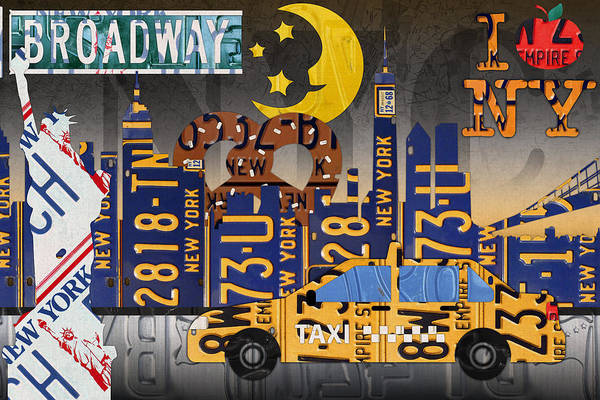 Statue Mixed Media - New York City Nyc The Big Apple License Plate Art Collage No 2 by Design Turnpike