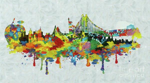 Manhattan Skyline Painting - New York City Panorama by Stefano Senise