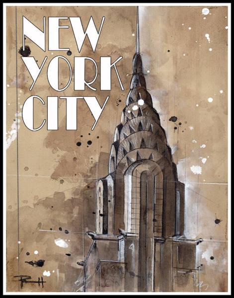 Manhattan Skyline Painting - New York City by Sean Parnell