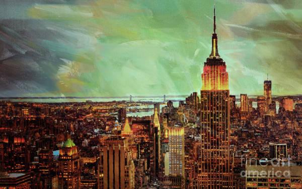 Manhattan Skyline Painting - New York City Skyline 0j by Gull G