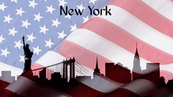Mixed Media - New York City Skyline American Flag by Dan Sproul