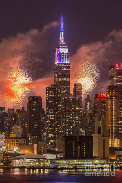 Photograph - New York City Skyline And Fireworks II by Clarence Holmes