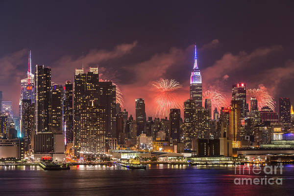 Photograph - New York City Skyline And Fireworks IIi by Clarence Holmes