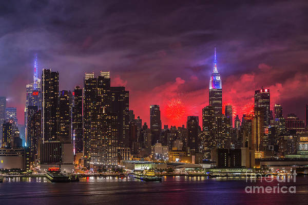 Photograph - New York City Skyline And Fireworks V by Clarence Holmes
