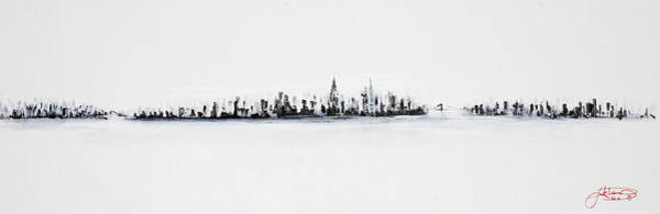 Manhattan Skyline Painting - New York City Skyline Black And White by Jack Diamond