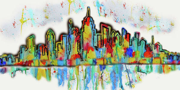 Wall Art - Painting - New York City Skyline Cityscape  by Leon Zernitsky