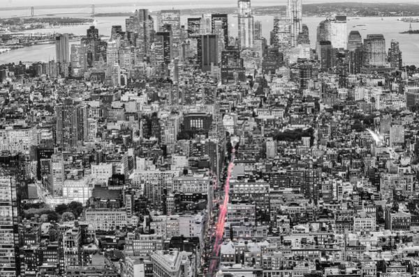 Uptown Manhattan Photograph - New York City Skyline From The Empire State Observation Deck In Black And White - Manhattan Island   by Silvio Ligutti