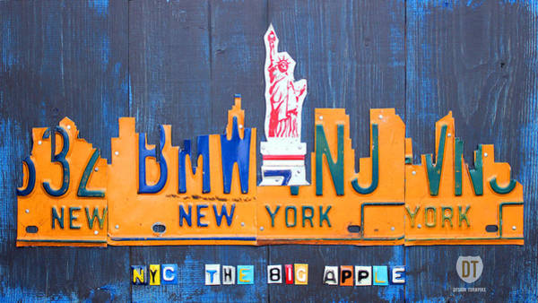 Vintage Automobiles Mixed Media - New York City Skyline License Plate Art by Design Turnpike