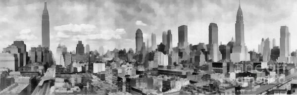 Painting - New York City Skyline Monochromatic by Edward Fielding