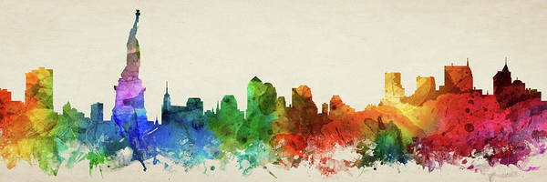 Wall Art - Digital Art - New York City Skyline Panorama Usnyny-pa03 by Aged Pixel