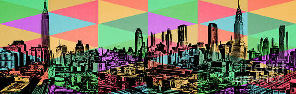 Diversity Wall Art - Painting - New York City Skyline Rainbow by Edward Fielding