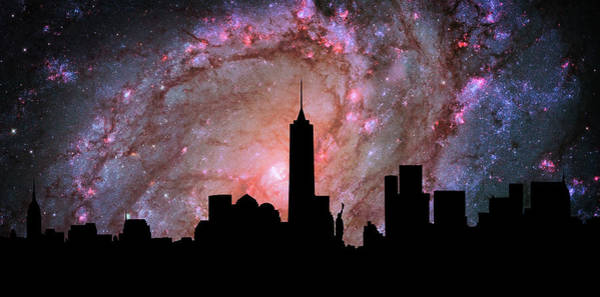 Cosmology Digital Art - New York City Skyline Silhouette Galaxy by Ricky Barnard