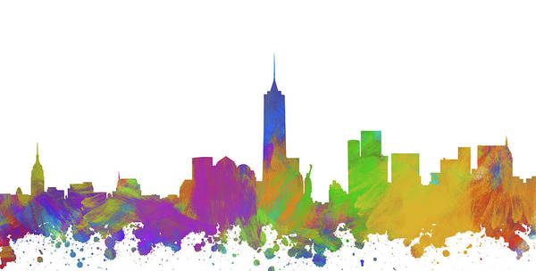 New Trend Digital Art - New York City Skyline Silhouette V by Ricky Barnard