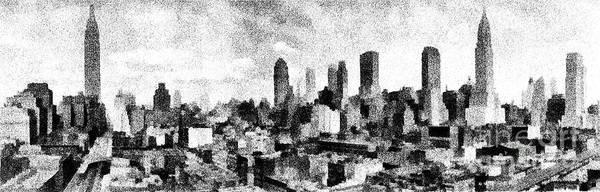 Nyc Skyline Digital Art - New York City Skyline Sketch by Edward Fielding