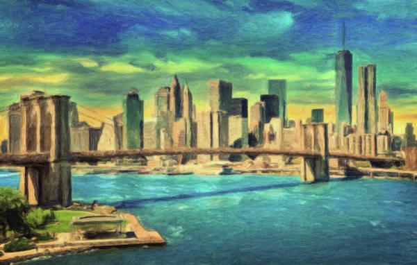 Manhattan Skyline Painting - New York City Skyline by Zapista Zapista
