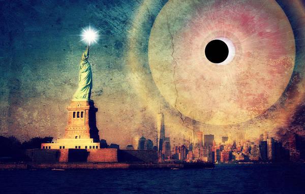 Eclipse Mixed Media - New York City Solar Eclipse 2017 II by Aurelio Zucco