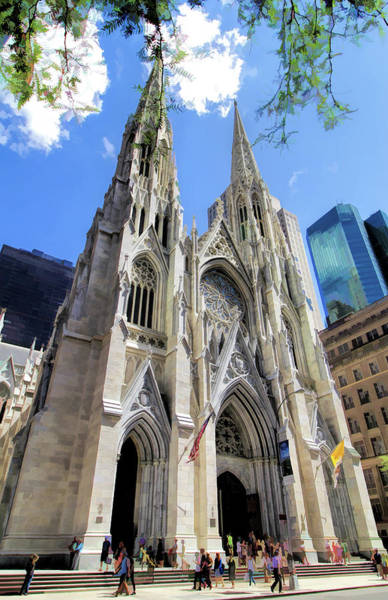 St Patricks Painting - New York City St Patrick's Cathedral Spires by Christopher Arndt