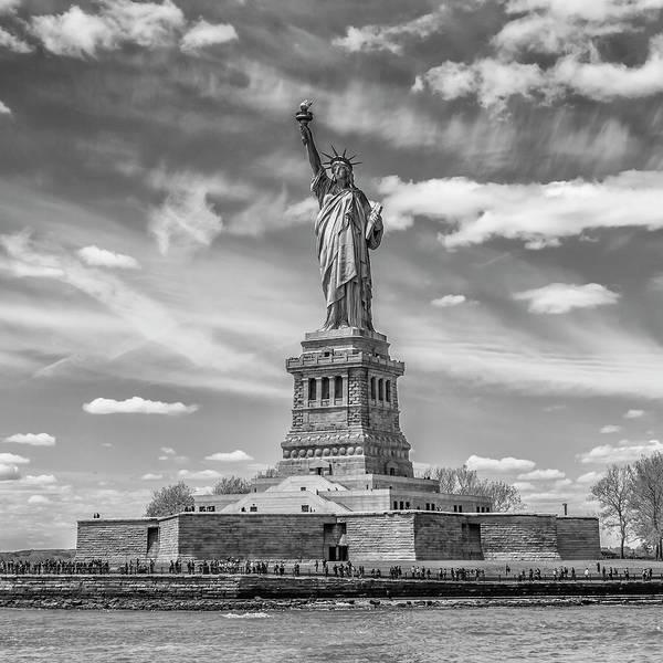 Wall Art - Photograph - New York City Statue Of Liberty - Monochrome by Melanie Viola