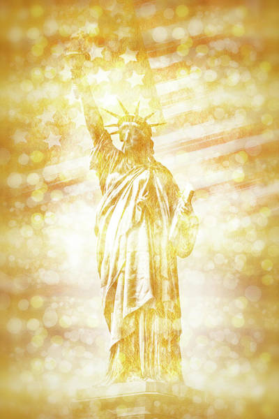 Statue Of Liberty Digital Art - New York City Statue Of Liberty With American Banner - Golden Painting by Melanie Viola