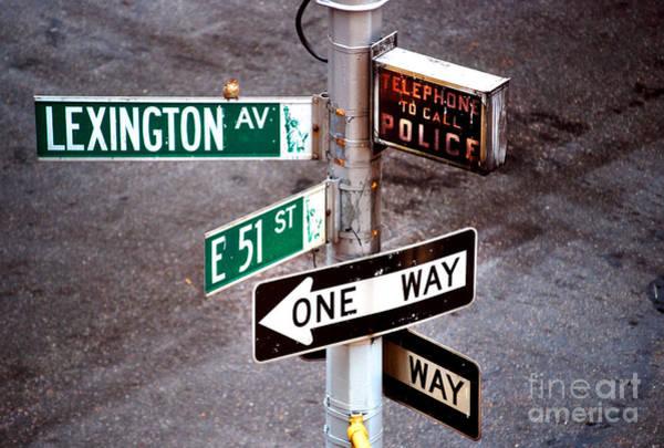 Photograph - New York City - Street Signs - Lexington Av And E 51 St by Carlos Alkmin