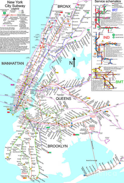 New York City Map Drawing - New York City Subway Map by Pg Reproductions
