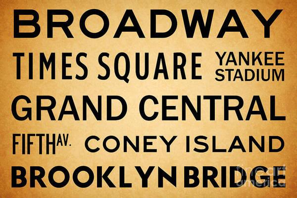 Midtown Manhattan Digital Art - New York City Subway Sign Typography Art 1 by Nishanth Gopinathan