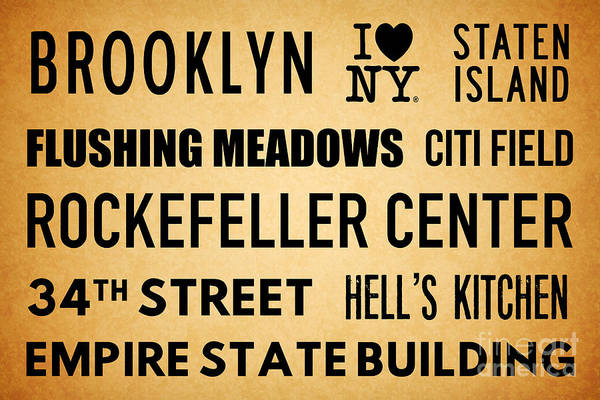 The Empire State Building Digital Art - New York City Subway Sign Typography Art 13 by Nishanth Gopinathan