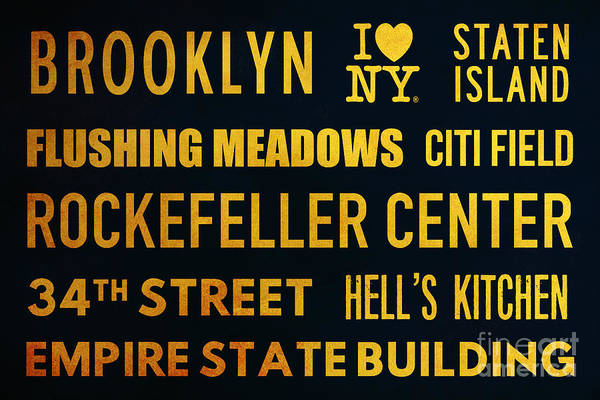 The Empire State Building Digital Art - New York City Subway Sign Typography Art 14 by Nishanth Gopinathan