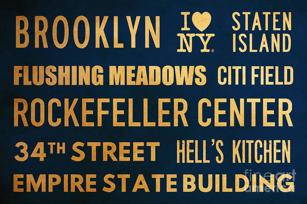 The Empire State Building Digital Art - New York City Subway Sign Typography Art 16 by Nishanth Gopinathan