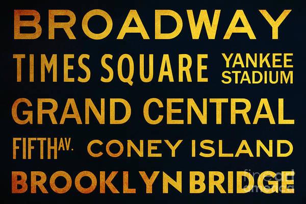Midtown Manhattan Digital Art - New York City Subway Sign Typography Art 2 by Nishanth Gopinathan
