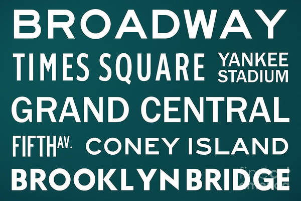 Midtown Manhattan Digital Art - New York City Subway Sign Typography Art 3 by Nishanth Gopinathan