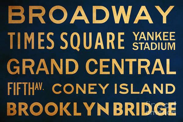 Yankee Stadium Digital Art - New York City Subway Sign Typography Art 4 by Nishanth Gopinathan